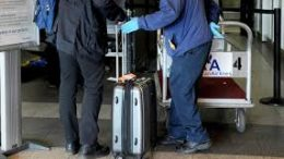 Baggage handlers at airport